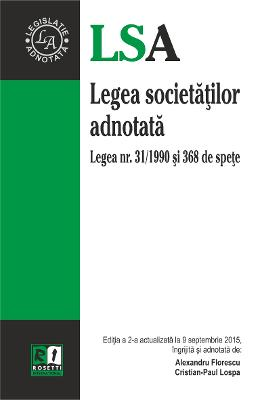 Legea Societatilor Adnotata Act. 9 Septembrie 2015