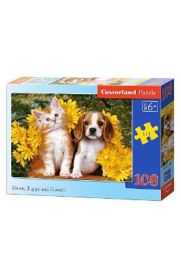 Puzzle 108 Castorland - Kitten  Puppy And Flowers