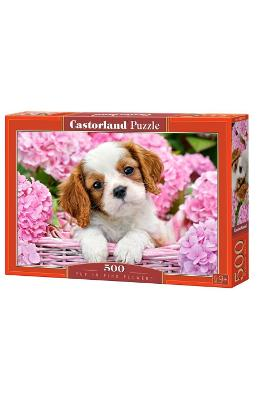 Puzzle 500 Castorland - Pup In Pink Flowers