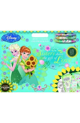 Frozen Fever, Artist colour and sticker pad. Trusa de artist cu stickere de la libris.ro