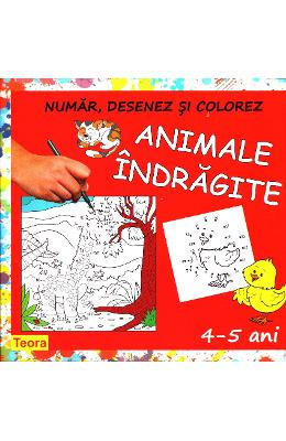 Animale indragite - Numar, desenez si colorez