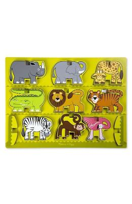 Stacking wooden chunky puzzle. Puzzle in relief, Animale de la zoo