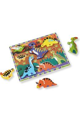 Chunky Puzzle, Dinosaurs. Puzzle lemn in relief, Dinozauri