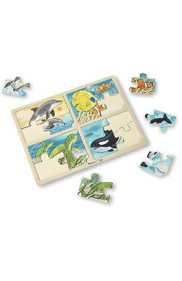 4 In 1 Jigsaw Puzzle  Sea Life. Set 4 Puzzle Lemn